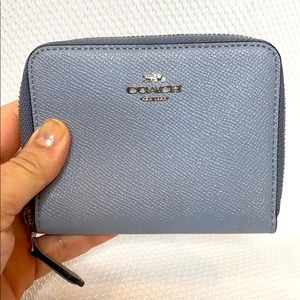 Coach Small Pewter/Bluebell leather Zip Wallet